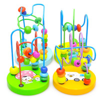 Early Childhood Learning Toy Children Kids Baby Colorful Wooden Mini Around Beads Educational Toy Kids Gift Wood Toy
