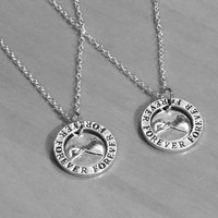 ON SALE 2 Forever Pinky Promise Necklaces, silver plated Necklace, His Hers, Couples Necklace, Best Friend Necklace, Boyfriend Girlfriend Gi