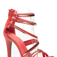 Red Strappy Plates Single Sole Heels