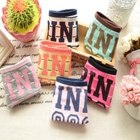 2016 Hot Sell Girl Sexy 100% Cotton Stripe Panties Women Underwear Vs Pink Tanga Bragas Briefs Cute Letter Women Calcinha 4NK012