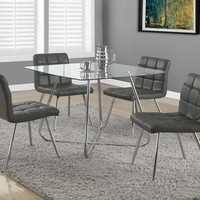 """Grey Leather-Look / Chrome Metal 32""""H Dining Chair / 2Pcs"""