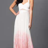 Betsy and Adam V-neck Prom Dress with Ombre Skirt