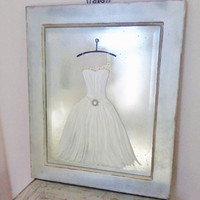 Ballerina Mirror/ original design painting. White dress, gold and silver wall art.