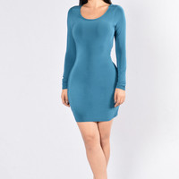 Turn Down For What Dress - Teal