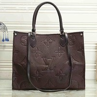 LV Louis Vuitton New Products Women's Pure Color Embossed Letters Shopping Handbag Shoulder Bag Coffee