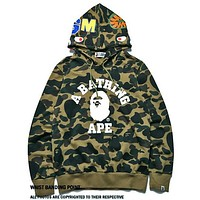 Bape Aape Autumn Winter Trending Couple Stylish Print Green Camouflage Hoodie Sweater Top Sweatshirt