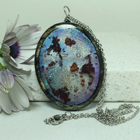 Space scene Abstract  Pendant Oval resin jewelry Birch Plywood