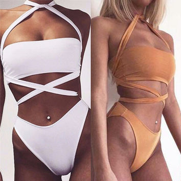 Hollow Out Bandage One Piece Swimsuit Swimwear