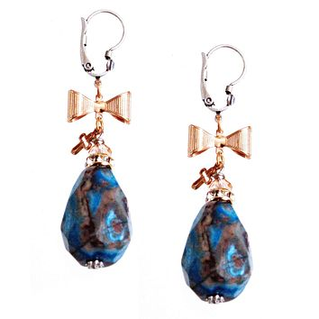 Blue Agate Stones Earrings with Rose Gold Plated Bows and Cross