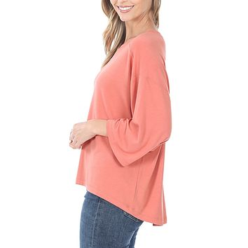 Casual Loose Boxy Fit Drop Shoulder 3/4 Sleeve Top