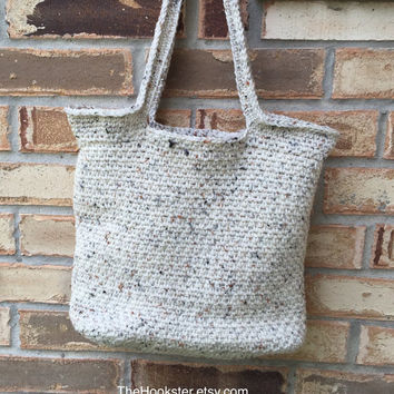 """Large Crocheted Tote in Cream Tweed, Fully Lined in Coordinating Print Fabric, College Book Bag, Shopper, Shoulder Bag,  13"""" x 12"""" x 5.5"""""""