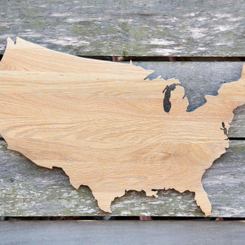 United States shape wood cutout sign wall art handcrafted from re-purposed Oak flooring. 17 x 27 in. Wedding Country Cabin Rustic Gift Decor