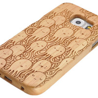 Cute octopus wood s6 case wood galaxy s6/s5/s4 case samsung galaxy note2/note3/note4 case wood iPhone 6 iPhone 5 case cover wooden gift