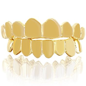 Solid 10k Gold Custom Fit Plain Top &Bottom Grillz