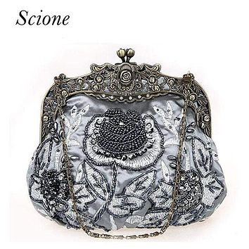 Women's Purses  Victorian Silk Clutch With Heavy Floral Beaded Embroidery