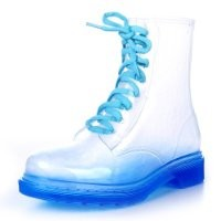 ZLYC Candy Color Transparent Flat Lace Up Ankle Martin Rain Boots (7.5, blue)