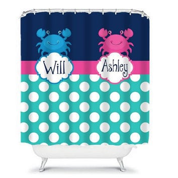 SHOWER CURTAIN Custom Monogram Personalized CRAB Navy Blue Turquoise Brother Sister Bathroom Beach Towel Plush Bath Mat Made in Usa