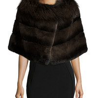Rabbit Fur Shawl w/Fox Fur Trim, Size: ONE SIZE,