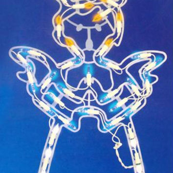 Lighted Angel Window Silhouette - Color: Pure White, Blue,amber And Orange Bulbs