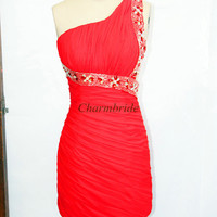 red short chiffon prom dresses with crystals simple one shoulder dress for party unique sheath mini homecoming dress
