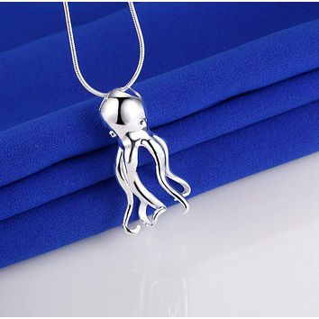 Octopus Silver Plated Necklace