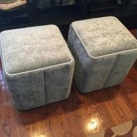 Art furniture Exclusive square gray crocodile velvet copper SilverPearl nailheads bench ottoman creative stool chair pouf custom made in USA