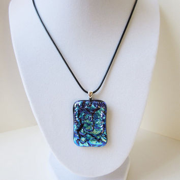 Statement Necklace, Mother's Day Gift, Gift for Mom, Dichroic Fused Glass Pendant, Big Bold Jewelry, Unique One of a Kind, Silver bail