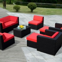 ohana collection PN0910R Genuine Ohana Outdoor Patio Wicker Furniture 9-Piece All Weather Gorgeous Couch Set with Free Patio Cover