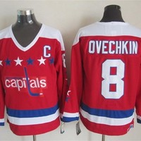 Washington #8 Alex Ovechkin s Ice Winter Hockey Jerseys red CCM Vintage Throwback Stitched Name Number