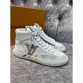 LV Louis Vuitton Men's And Women's 2021 NEW ARRIVALS Charlie High Top Sneakers Shoes
