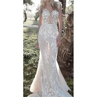 [236.99] Charming Tulle Scoop Neckline Mermaid Wedding Dresses With Lace Appliques - dressilyme.com