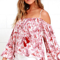 Wander This Way Ivory and Red Print Top