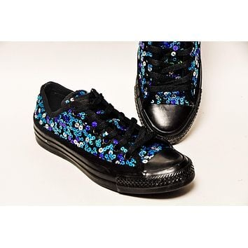 Blue Speckle Peacock Sequin Over Black Low Top Sneakers