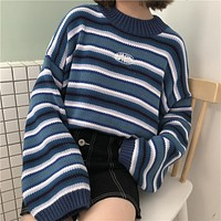 New Women Sweaters 2018 Harajuku Kawaii Sweaters Cute Sweet Vintage Striped Oversize Knit Pullover Sweaters