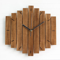 Romb II, wood wall clock wooden silent walnut stain hanging clocks home office kitchen bedroom minimalistic minimal simple, Paladim