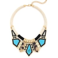 Tribal Temptress Necklace - Black, Ivory, and Turquoise
