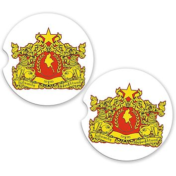 Myanmar World Flag Coat Of Arms Sandstone Car Cup Holder Matching Coaster Set