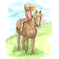 Horse Girl - Wall Art Print for Horse Lovers - Custom hair and dress colors to fit your decor needs