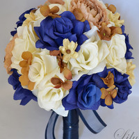 "Wedding Bridal Bouquet Silk Flowers bouquets Decoration 17 pieces Package CHAMPAGNE ROYAL BLUE ""Lily Of Angeles"""