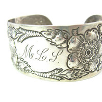Victorian Monogram Bracelet. Wide Sterling Silver Engraved Cuff. Floral Repousse. Personalized Letters MLP or MLS. Antique 1900s Jewelry