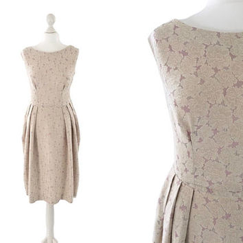 Early 1960's Dress | 60's Vintage Dress | Tulip Skirt Brocade Dress | Ecru And Lilac With Gold Metallic Highlights