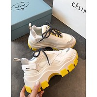 Prada Block Sneakers White Yellow