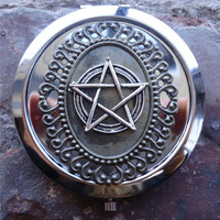 Wicca Pentagram Compact Mirror - Wiccan Pagan Witchcraft - Goth - Make Up - Cosmetics - Pocket Mirror