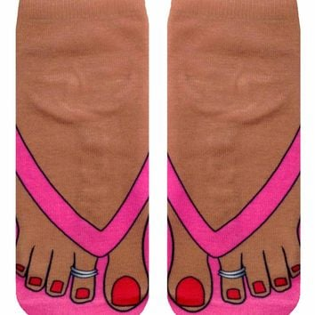 Flip Flops Tan Ankle Socks