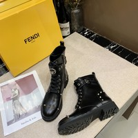 New Fendi leather fashion Casual Shoes women's boots shoes black