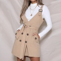 sexy v neck pinafore dress with pockets women spaghetti strap vintage casual dress solid streetwear