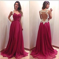 Sexy Party Bridesmaids Cocktail Backless Long Maxi Dress