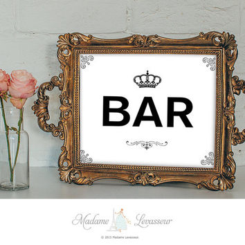 BAR signs printable sign business signs instant download signs printable signage wedding signs DIY signs retro wall art prints printable art