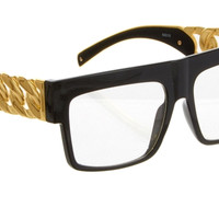 CELEBRITY DOPE CHAIN SUNGLASSES-CLEAR