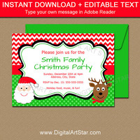 Holiday Party Invitations - Christmas Party Invitation Download - Christmas Printables - Holiday Printables - Digital Christmas Card C4